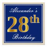 [ Thumbnail: Elegant, Blue, Faux Gold 28th Birthday + Name Invitation ]