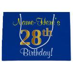 [ Thumbnail: Elegant, Blue, Faux Gold 28th Birthday + Name Gift Bag ]
