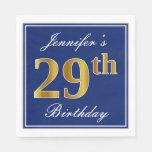 [ Thumbnail: Elegant Blue, Faux Gold 29th Birthday; Custom Name Napkin ]