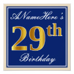 [ Thumbnail: Elegant, Blue, Faux Gold 29th Birthday + Name Invitation ]