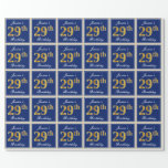 [ Thumbnail: Elegant, Blue, Faux Gold 29th Birthday + Name Wrapping Paper ]