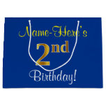 [ Thumbnail: Elegant, Blue, Faux Gold 2nd Birthday; Custom Name Gift Bag ]