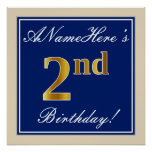 [ Thumbnail: Elegant, Blue, Faux Gold 2nd Birthday; Custom Name Poster ]