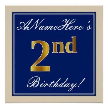 Art Themed Elegant, Blue, Faux Gold 2nd Birthday; Custom Name Poster