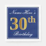 [ Thumbnail: Elegant Blue, Faux Gold 30th Birthday; Custom Name Paper Napkin ]