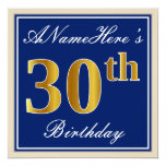 [ Thumbnail: Elegant, Blue, Faux Gold 30th Birthday + Name Invitation ]