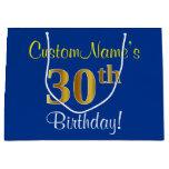 [ Thumbnail: Elegant, Blue, Faux Gold 30th Birthday + Name Gift Bag ]