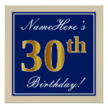 [ Thumbnail: Elegant, Blue, Faux Gold 30th Birthday + Name Poster ]