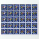 [ Thumbnail: Elegant, Blue, Faux Gold 30th Birthday + Name Wrapping Paper ]