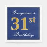 [ Thumbnail: Elegant Blue, Faux Gold 31st Birthday; Custom Name Napkin ]