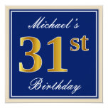 [ Thumbnail: Elegant, Blue, Faux Gold 31st Birthday + Name Invitation ]
