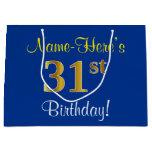[ Thumbnail: Elegant, Blue, Faux Gold 31st Birthday + Name Gift Bag ]