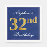 [ Thumbnail: Elegant Blue, Faux Gold 32nd Birthday; Custom Name Napkin ]