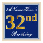 [ Thumbnail: Elegant, Blue, Faux Gold 32nd Birthday + Name Invitation ]