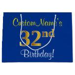 [ Thumbnail: Elegant, Blue, Faux Gold 32nd Birthday + Name Gift Bag ]