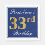 [ Thumbnail: Elegant Blue, Faux Gold 33rd Birthday; Custom Name Napkin ]