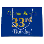 [ Thumbnail: Elegant, Blue, Faux Gold 33rd Birthday + Name Gift Bag ]