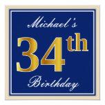 [ Thumbnail: Elegant, Blue, Faux Gold 34th Birthday + Name Invitation ]