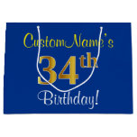 [ Thumbnail: Elegant, Blue, Faux Gold 34th Birthday + Name Gift Bag ]