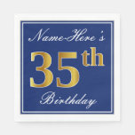 [ Thumbnail: Elegant Blue, Faux Gold 35th Birthday; Custom Name Paper Napkin ]