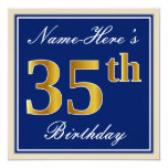 [ Thumbnail: Elegant, Blue, Faux Gold 35th Birthday + Name Invitation ]