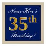 [ Thumbnail: Elegant, Blue, Faux Gold 35th Birthday + Name Poster ]