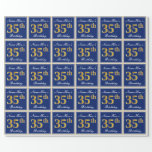 [ Thumbnail: Elegant, Blue, Faux Gold 35th Birthday + Name Wrapping Paper ]