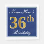[ Thumbnail: Elegant Blue, Faux Gold 36th Birthday; Custom Name Napkin ]