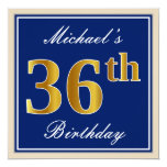 [ Thumbnail: Elegant, Blue, Faux Gold 36th Birthday + Name Invitation ]