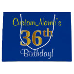 [ Thumbnail: Elegant, Blue, Faux Gold 36th Birthday + Name Gift Bag ]