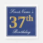 [ Thumbnail: Elegant Blue, Faux Gold 37th Birthday; Custom Name Napkin ]