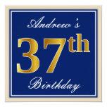 [ Thumbnail: Elegant, Blue, Faux Gold 37th Birthday + Name Invitation ]