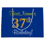 [ Thumbnail: Elegant, Blue, Faux Gold 37th Birthday + Name Gift Bag ]