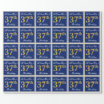 [ Thumbnail: Elegant, Blue, Faux Gold 37th Birthday + Name Wrapping Paper ]