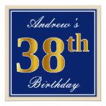 [ Thumbnail: Elegant, Blue, Faux Gold 38th Birthday + Name Invitation ]