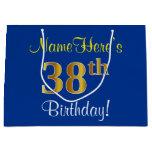 [ Thumbnail: Elegant, Blue, Faux Gold 38th Birthday + Name Gift Bag ]