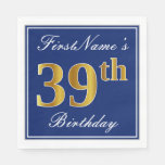 [ Thumbnail: Elegant Blue, Faux Gold 39th Birthday; Custom Name Napkin ]