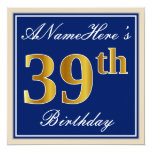[ Thumbnail: Elegant, Blue, Faux Gold 39th Birthday + Name Invitation ]