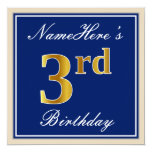 [ Thumbnail: Elegant, Blue, Faux Gold 3rd Birthday; Custom Name Invitation ]