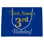 [ Thumbnail: Elegant, Blue, Faux Gold 3rd Birthday; Custom Name Gift Bag ]
