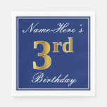 [ Thumbnail: Elegant Blue, Faux Gold 3rd Birthday + Custom Name Napkin ]