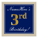 [ Thumbnail: Elegant, Blue, Faux Gold 3rd Birthday; Custom Name Poster ]