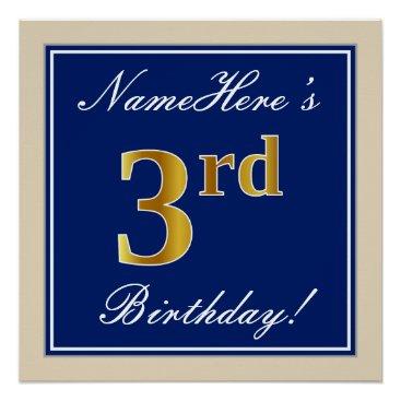 Art Themed Elegant, Blue, Faux Gold 3rd Birthday; Custom Name Poster