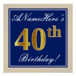 [ Thumbnail: Elegant, Blue, Faux Gold 40th Birthday + Name Poster ]