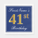 [ Thumbnail: Elegant Blue, Faux Gold 41st Birthday; Custom Name Napkin ]