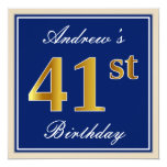 [ Thumbnail: Elegant, Blue, Faux Gold 41st Birthday + Name Invitation ]