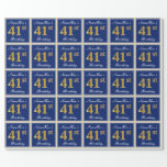 [ Thumbnail: Elegant, Blue, Faux Gold 41st Birthday + Name Wrapping Paper ]
