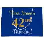 [ Thumbnail: Elegant, Blue, Faux Gold 42nd Birthday + Name Gift Bag ]