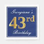 [ Thumbnail: Elegant Blue, Faux Gold 43rd Birthday; Custom Name Napkin ]