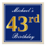 [ Thumbnail: Elegant, Blue, Faux Gold 43rd Birthday + Name Invitation ]